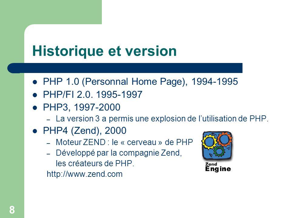 8 Historique et version PHP 1.0 (Personnal Home Page), 1994-1995 PHP/FI 2.0. 1995-1997 PHP3, 1997-2000 – La version 3 a permis une explosion de lutili