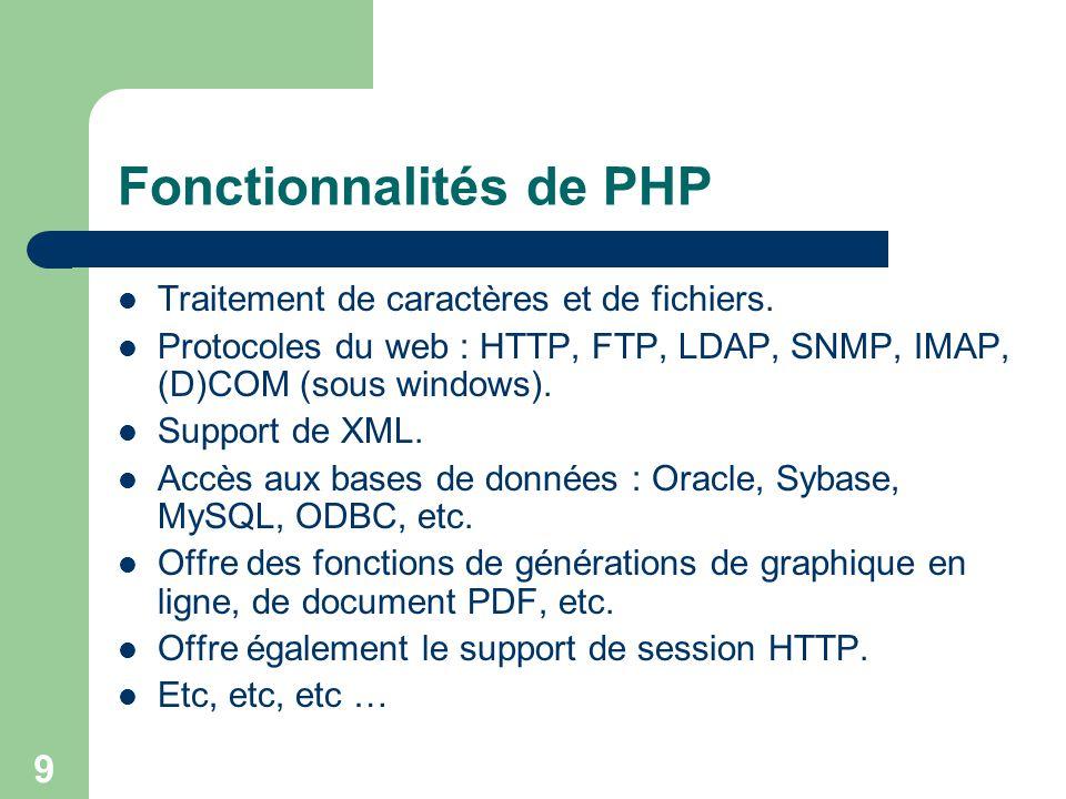 9 Fonctionnalités de PHP Traitement de caractères et de fichiers. Protocoles du web : HTTP, FTP, LDAP, SNMP, IMAP, (D)COM (sous windows). Support de X