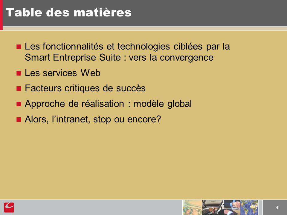 4 Table des matières Les fonctionnalités et technologies ciblées par la Smart Entreprise Suite : vers la convergence Les services Web Facteurs critiqu
