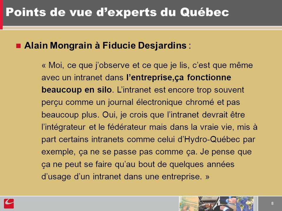 8 Points de vue dexperts du Québec Alain Mongrain à Fiducie Desjardins : « Moi, ce que jobserve et ce que je lis, cest que même avec un intranet dans lentreprise,ça fonctionne beaucoup en silo.