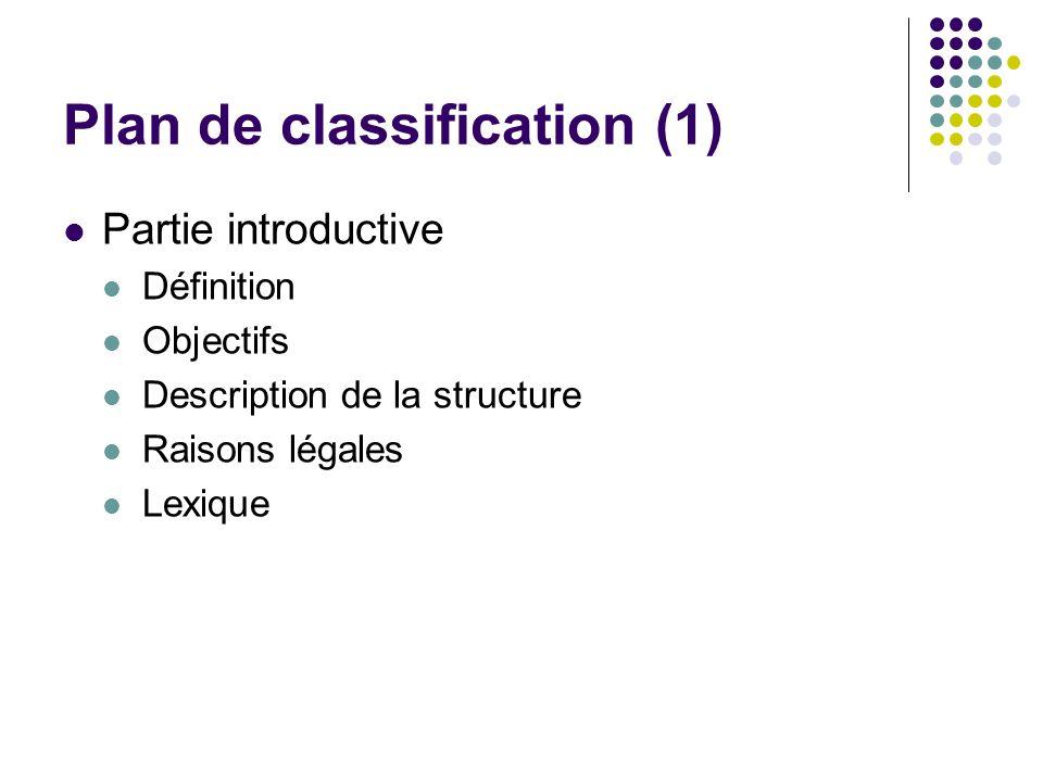 Plan de classification (1) Partie introductive Définition Objectifs Description de la structure Raisons légales Lexique