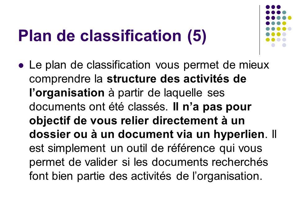 Plan de classification (5) Le plan de classification vous permet de mieux comprendre la structure des activités de lorganisation à partir de laquelle ses documents ont été classés.