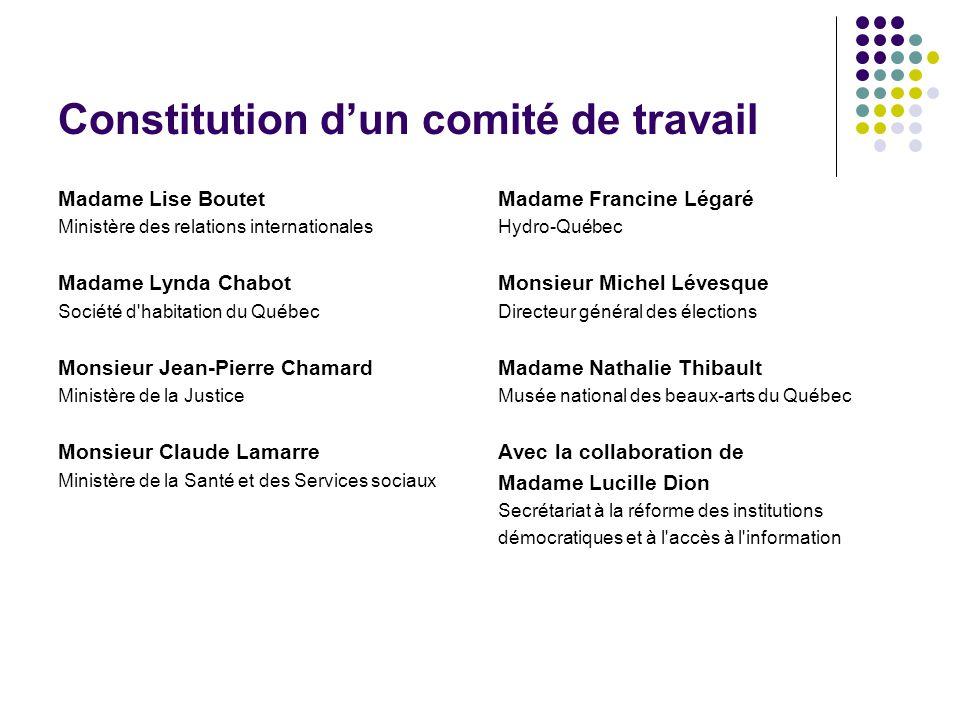 Constitution dun comité de travail Madame Lise Boutet Ministère des relations internationales Madame Lynda Chabot Société d'habitation du Québec Monsi