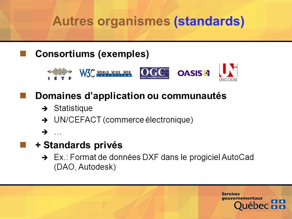 Autres organismes (standards) nConsortiums (exemples) nDomaines dapplication ou communautés è Statistique è UN/CEFACT (commerce électronique) è … n+ Standards privés è Ex.: Format de données DXF dans le progiciel AutoCad (DAO, Autodesk)