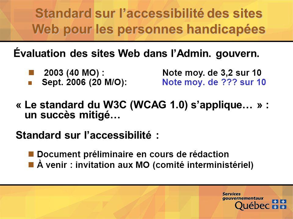 Standard sur laccessibilité des sites Web pour les personnes handicapées n Sept.