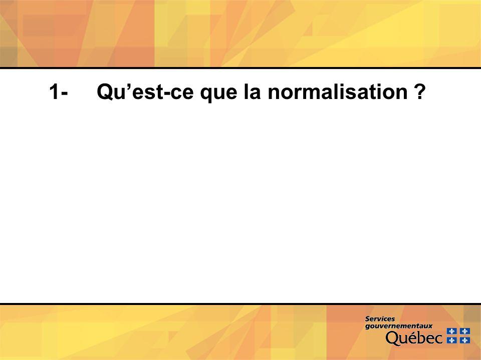 1- Quest-ce que la normalisation