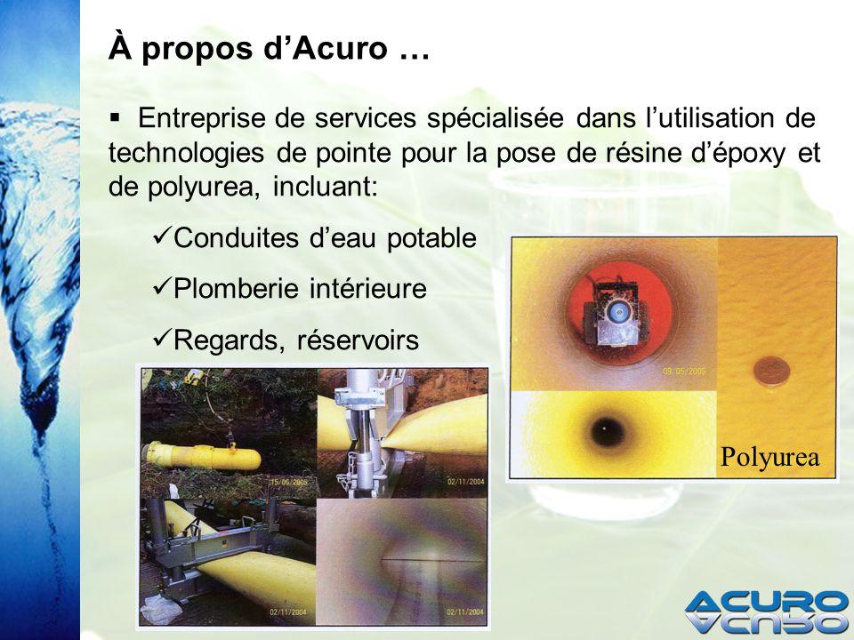 À propos dAcuro … Entreprise de services spécialisée dans lutilisation de technologies de pointe pour la pose de résine dépoxy et de polyurea, incluant: Conduites deau potable Plomberie intérieure Regards, réservoirs Polyurea