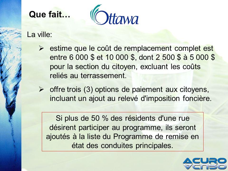 La ville: estime que le coût de remplacement complet est entre 6 000 $ et 10 000 $, dont 2 500 $ à 5 000 $ pour la section du citoyen, excluant les coûts reliés au terrassement.