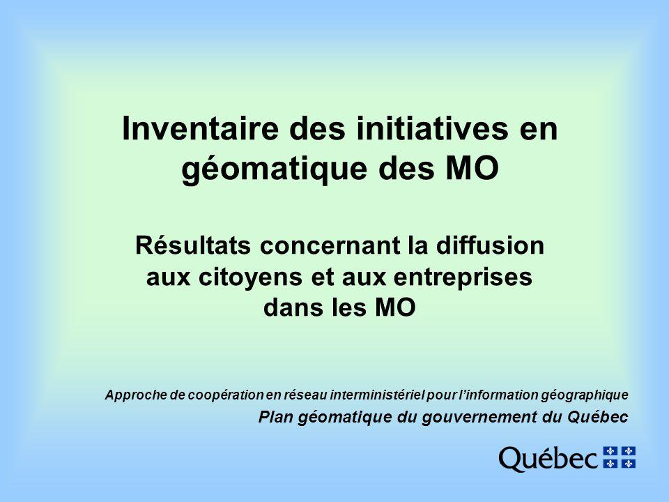 Approche de coopération en réseau interministériel pour linformation géographique Plan géomatique du gouvernement du Québec Inventaire des initiatives en géomatique des MO Résultats concernant la diffusion aux citoyens et aux entreprises dans les MO