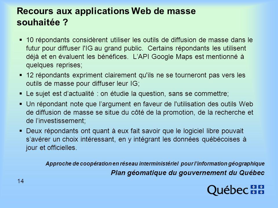 14 Approche de coopération en réseau interministériel pour linformation géographique Plan géomatique du gouvernement du Québec Recours aux applications Web de masse souhaitée .