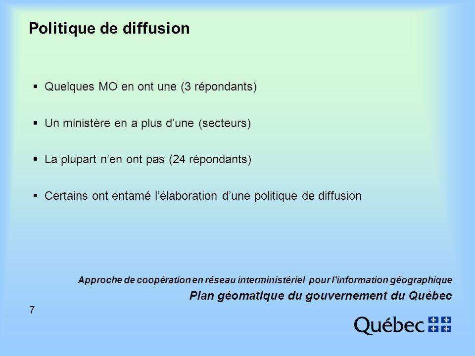 7 Approche de coopération en réseau interministériel pour linformation géographique Plan géomatique du gouvernement du Québec Politique de diffusion Quelques MO en ont une (3 répondants) Un ministère en a plus dune (secteurs) La plupart nen ont pas (24 répondants) Certains ont entamé lélaboration dune politique de diffusion