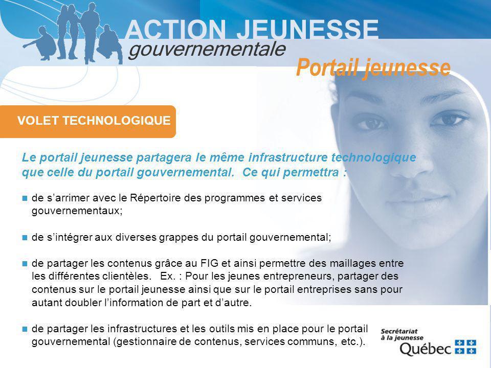 ACTION JEUNESSE gouvernementale VOLET TECHNOLOGIQUE Le portail jeunesse partagera le même infrastructure technologique que celle du portail gouvernemental.