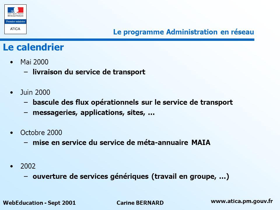 www.atica.pm.gouv.fr WebEducation - Sept 2001Carine BERNARD Mai 2000 –livraison du service de transport Juin 2000 –bascule des flux opérationnels sur