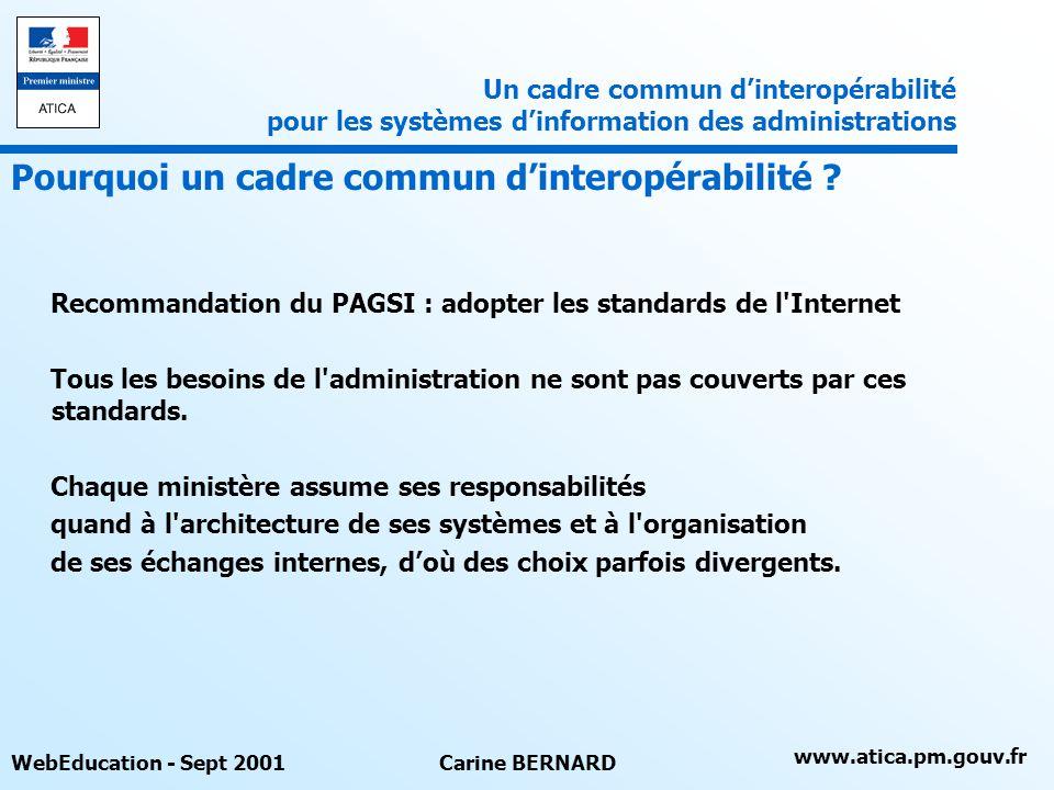 www.atica.pm.gouv.fr WebEducation - Sept 2001Carine BERNARD Recommandation du PAGSI : adopter les standards de l'Internet Tous les besoins de l'admini