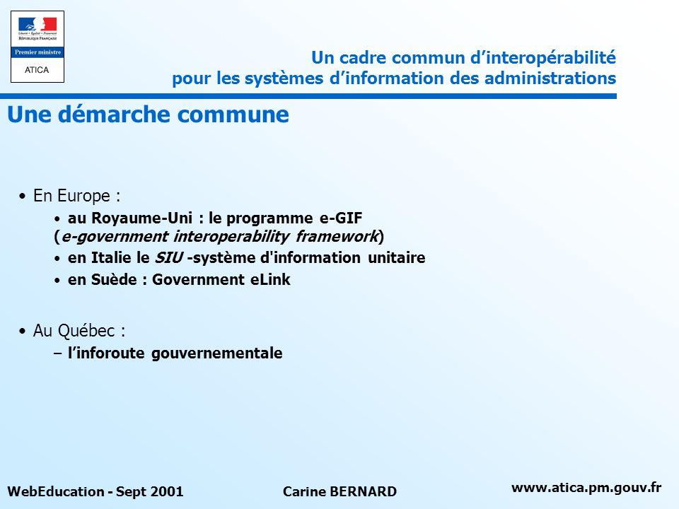 www.atica.pm.gouv.fr WebEducation - Sept 2001Carine BERNARD En Europe : au Royaume-Uni : le programme e-GIF (e-government interoperability framework)