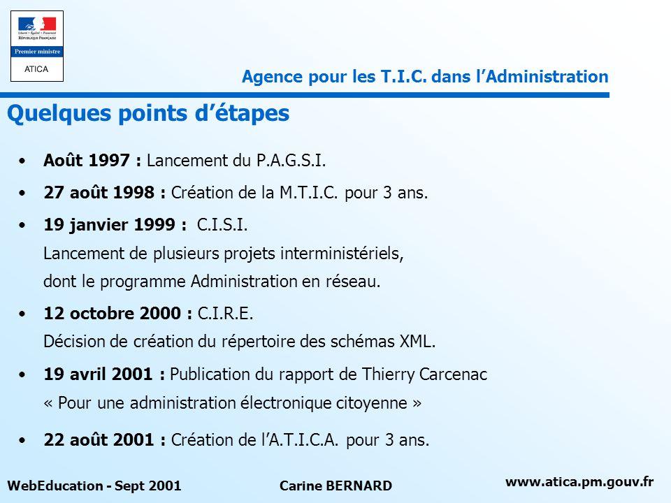 www.atica.pm.gouv.fr WebEducation - Sept 2001Carine BERNARD Définition dun cadre commun dinteropérabilité des systèmes dinformation des administrations LATICA recommande des standards et offre des services dinterconnectivité aux administrations et à leurs partenaires.