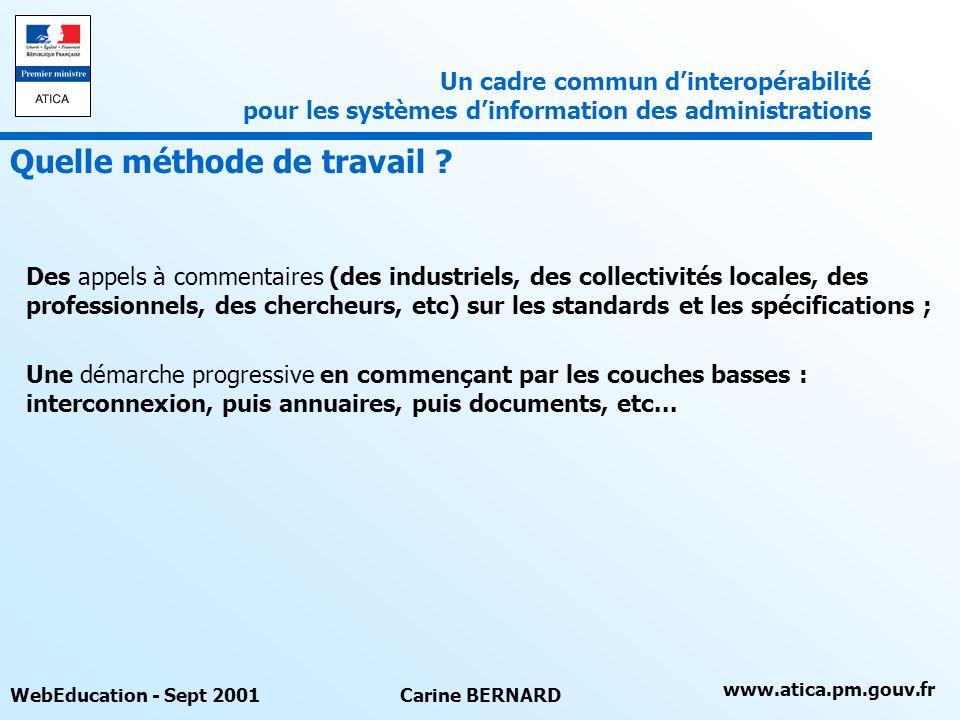 www.atica.pm.gouv.fr WebEducation - Sept 2001Carine BERNARD Des appels à commentaires (des industriels, des collectivités locales, des professionnels,