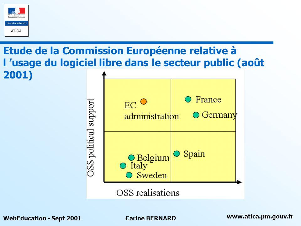 www.atica.pm.gouv.fr WebEducation - Sept 2001Carine BERNARD Etude de la Commission Européenne relative à l usage du logiciel libre dans le secteur pub