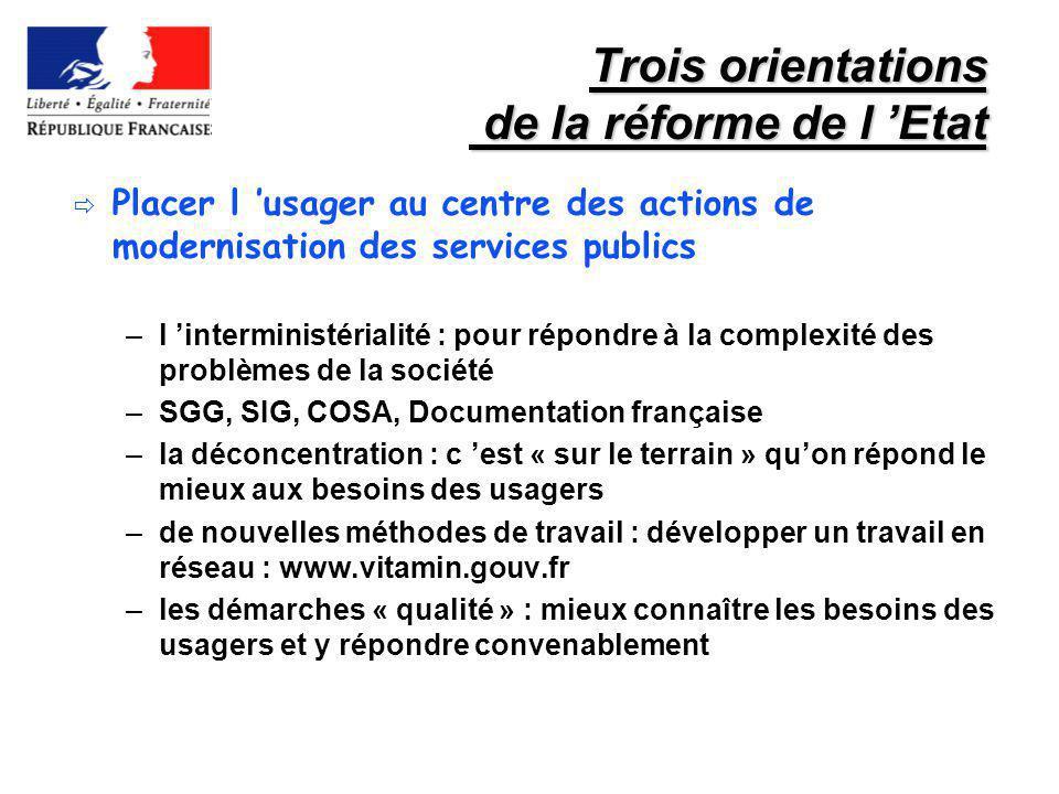 Trois orientations de la réforme de l Etat Placer l usager au centre des actions de modernisation des services publics –l interministérialité : pour r