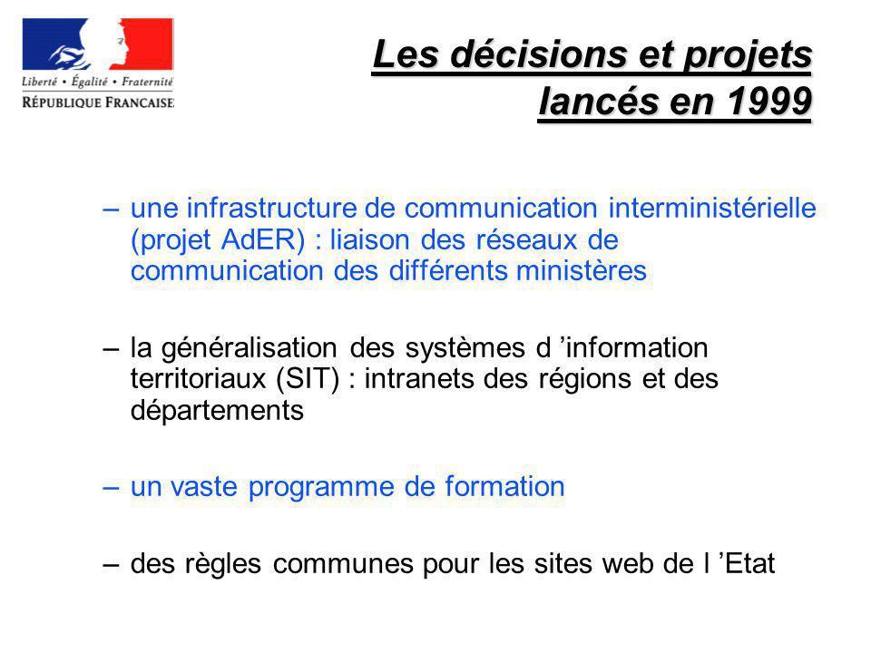 Les décisions et projets lancés en 1999 –une infrastructure de communication interministérielle (projet AdER) : liaison des réseaux de communication d