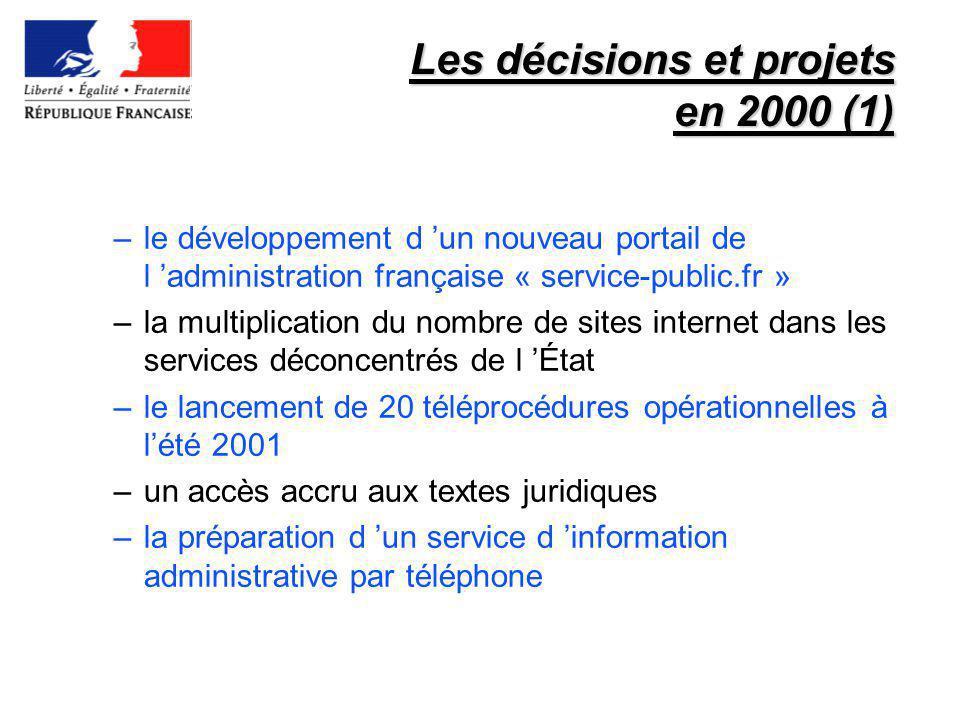 Les décisions et projets en 2000 (1) –le développement d un nouveau portail de l administration française « service-public.fr » –la multiplication du