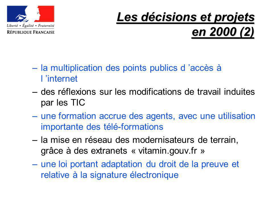 Les décisions et projets en 2000 (2) –la multiplication des points publics d accès à l internet –des réflexions sur les modifications de travail indui