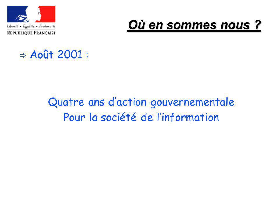 Où en sommes nous ? Août 2001 : Quatre ans daction gouvernementale Pour la société de linformation