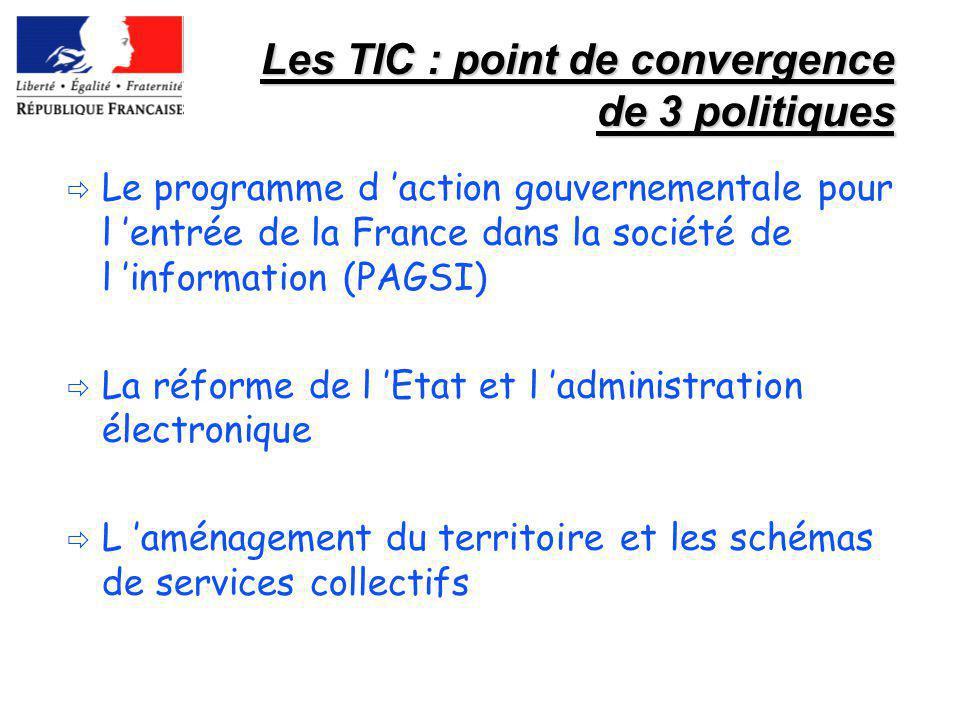Les TIC : point de convergence de 3 politiques Le programme d action gouvernementale pour l entrée de la France dans la société de l information (PAGS