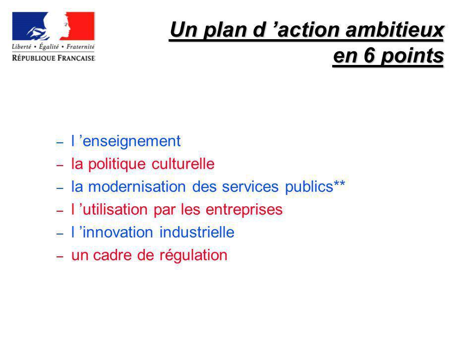 Un plan d action ambitieux en 6 points – l enseignement – la politique culturelle – la modernisation des services publics** – l utilisation par les en