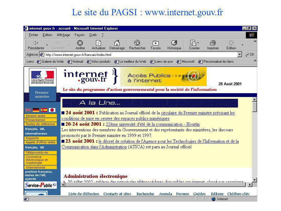 Le site du PAGSI : www.internet.gouv.fr