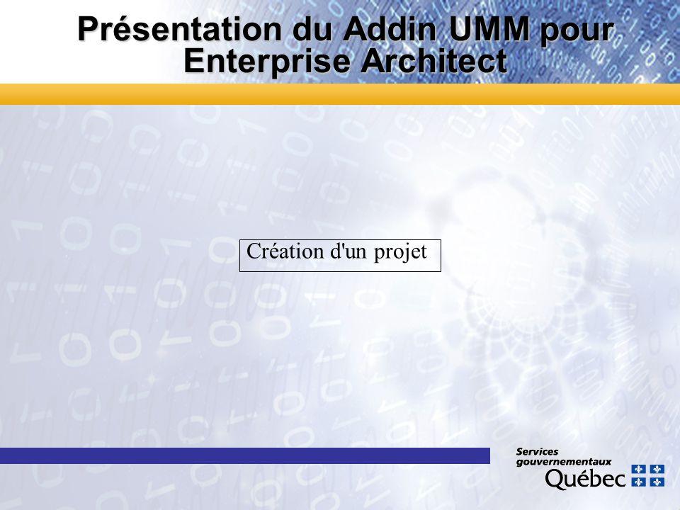 Présentation du Addin UMM pour Enterprise Architect Création d'un projet