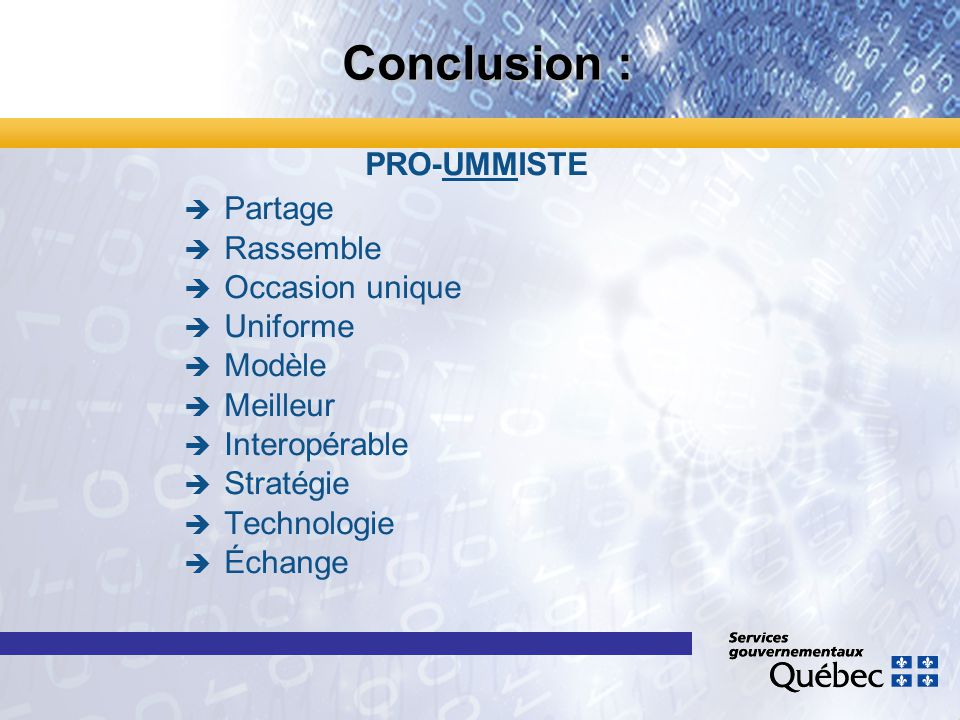 Conclusion : PRO-UMMISTE Partage Rassemble Occasion unique Uniforme Modèle Meilleur Interopérable Stratégie Technologie Échange