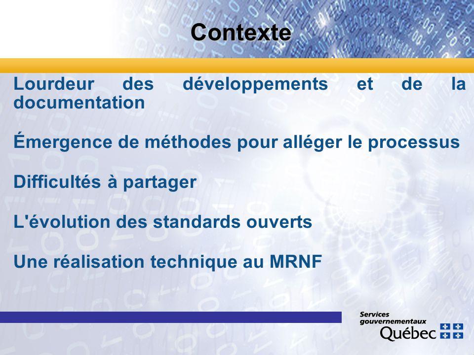 Contexte Lourdeur des développements et de la documentation Émergence de méthodes pour alléger le processus Difficultés à partager L'évolution des sta