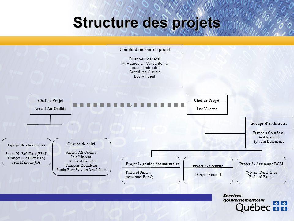 Comité directeur de projet Directeur général M. Patrice Di Marcantonio Louise Thiboutot Arezki Aït Oudhia Luc Vincent Projet 1- gestion documentaire R
