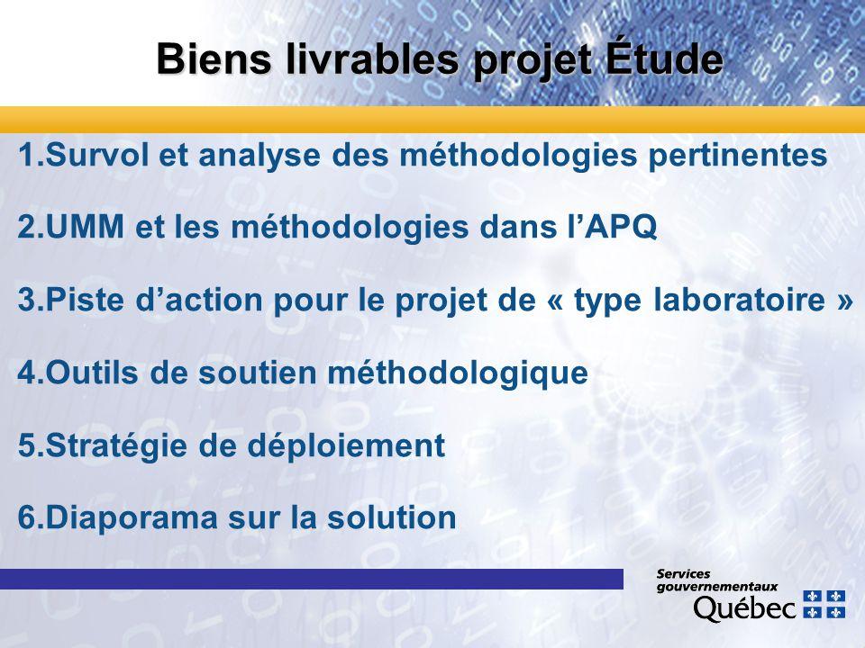 Biens livrables projet Étude 1.Survol et analyse des méthodologies pertinentes 2.UMM et les méthodologies dans lAPQ 3.Piste daction pour le projet de