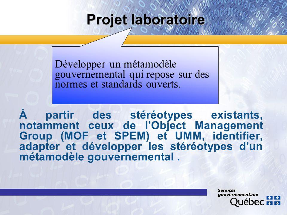 Projet laboratoire À partir des stéréotypes existants, notamment ceux de lObject Management Group (MOF et SPEM) et UMM, identifier, adapter et dévelop