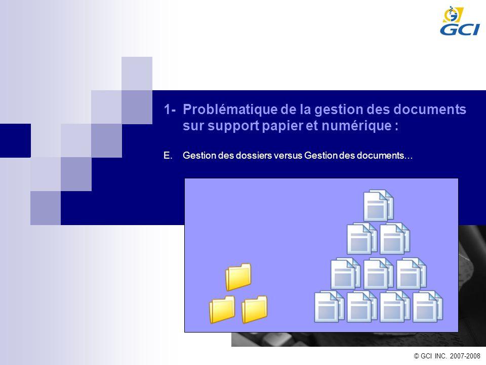 © GCI INC. 2007-2008 1-Problématique de la gestion des documents sur support papier et numérique : E.Gestion des dossiers versus Gestion des documents