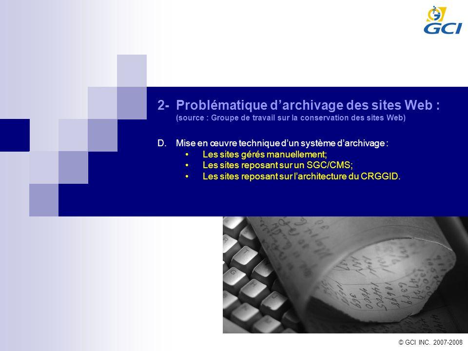 2-Problématique darchivage des sites Web : (source : Groupe de travail sur la conservation des sites Web) D.Mise en œuvre technique dun système darchi