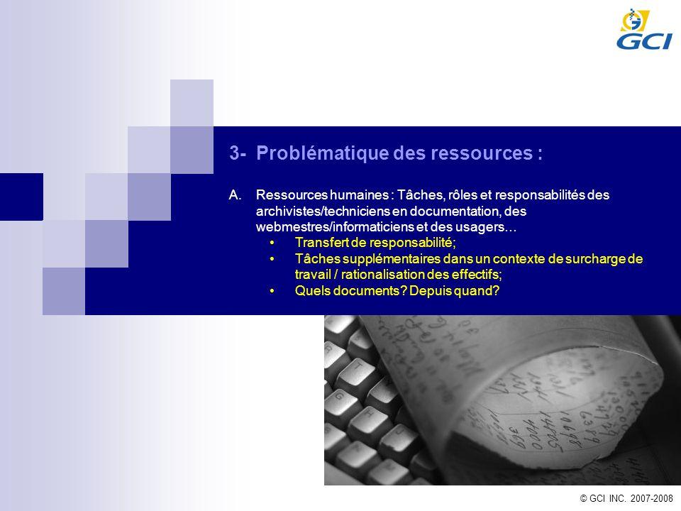 © GCI INC. 2007-2008 3-Problématique des ressources : A.Ressources humaines : Tâches, rôles et responsabilités des archivistes/techniciens en document