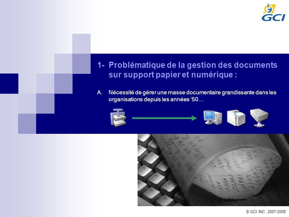 © GCI INC. 2007-2008 1-Problématique de la gestion des documents sur support papier et numérique : A.Nécessité de gérer une masse documentaire grandis