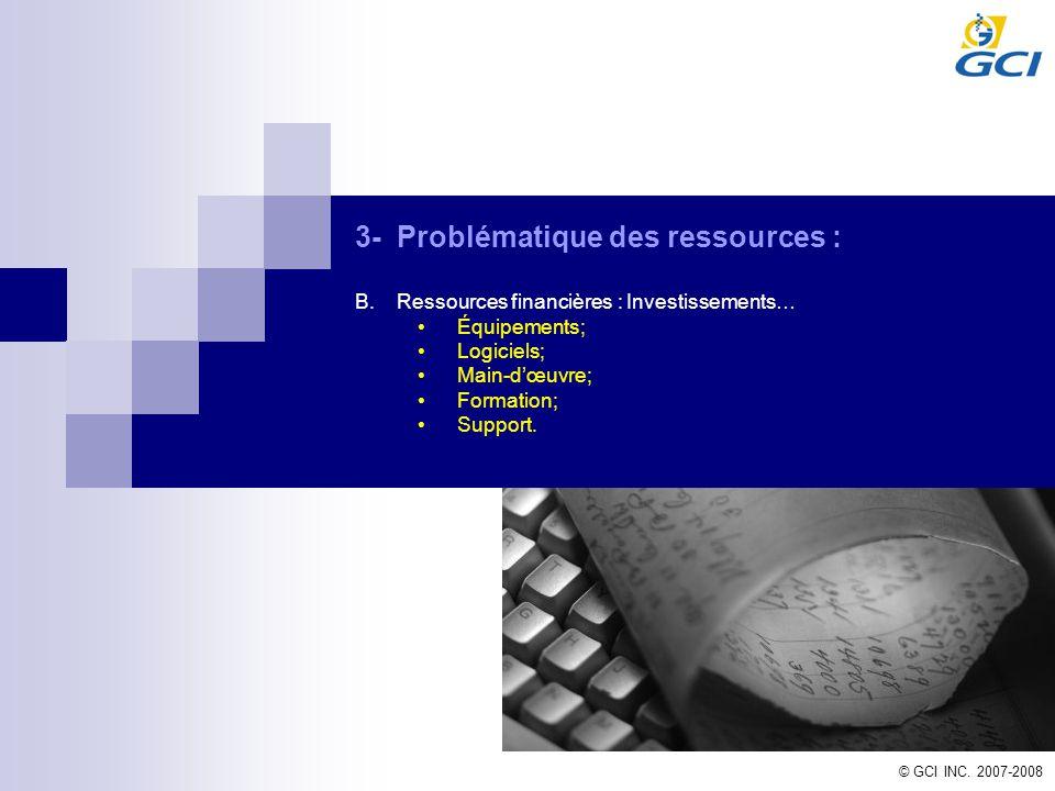 3-Problématique des ressources : B.Ressources financières : Investissements… Équipements; Logiciels; Main-dœuvre; Formation; Support.