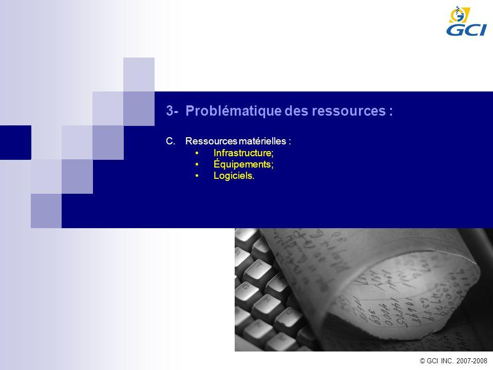 © GCI INC. 2007-2008 3-Problématique des ressources : C.Ressources matérielles : Infrastructure; Équipements; Logiciels.