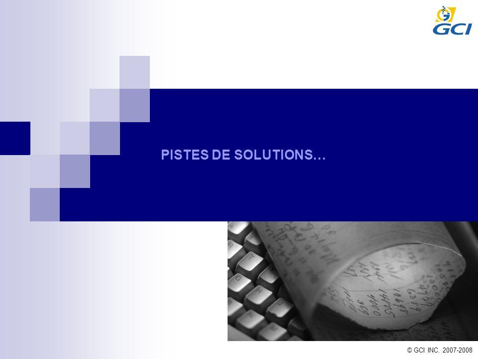 © GCI INC. 2007-2008 PISTES DE SOLUTIONS…