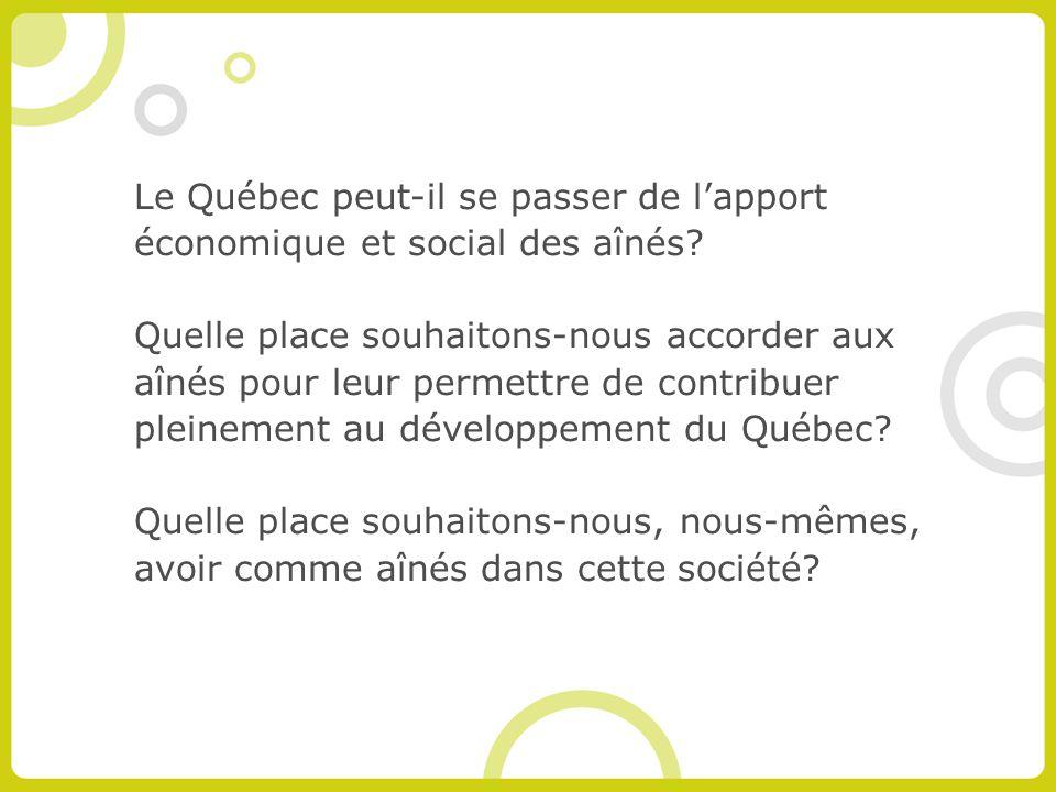 Le Québec peut-il se passer de lapport économique et social des aînés.