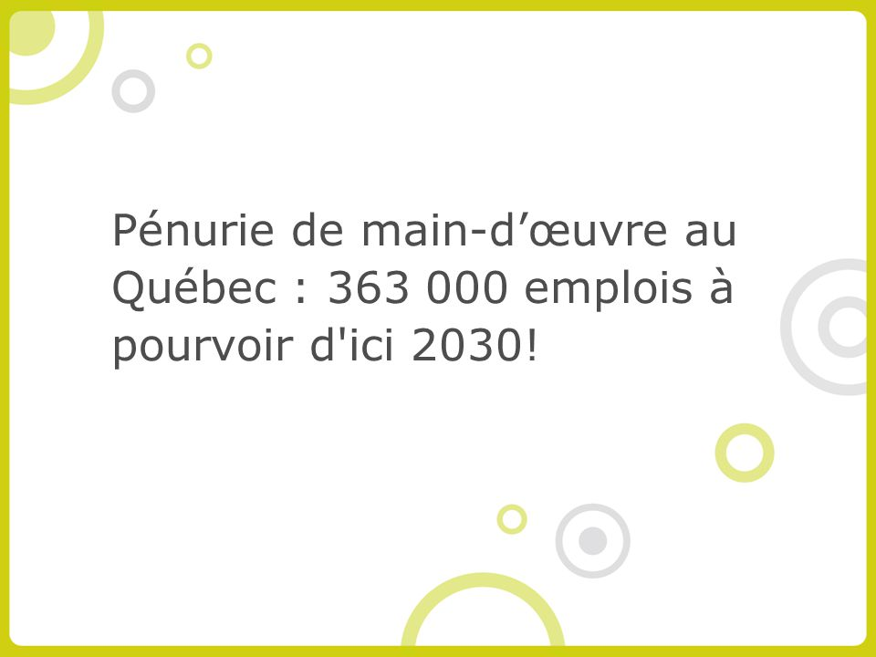 Pénurie de main-dœuvre au Québec : 363 000 emplois à pourvoir d ici 2030!