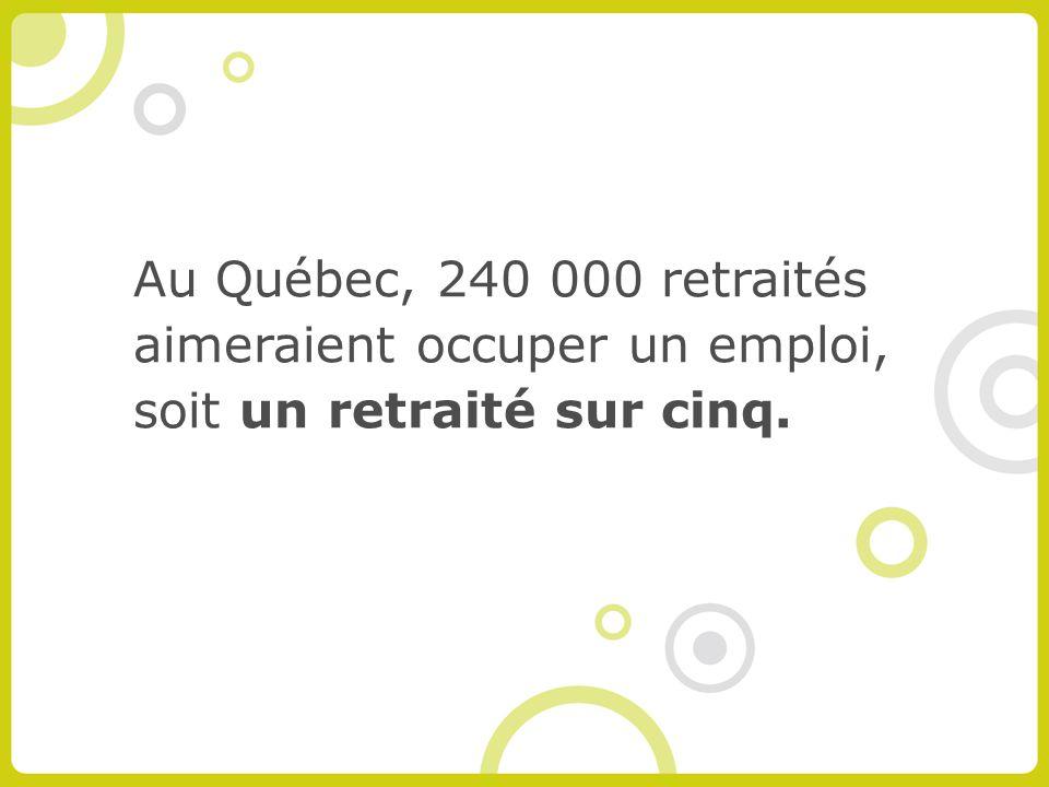 Au Québec, 240 000 retraités aimeraient occuper un emploi, soit un retraité sur cinq.