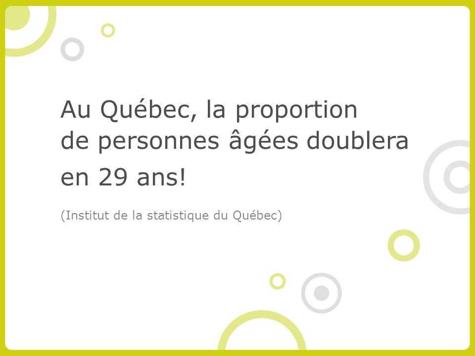Au Québec, la proportion de personnes âgées doublera en 29 ans.