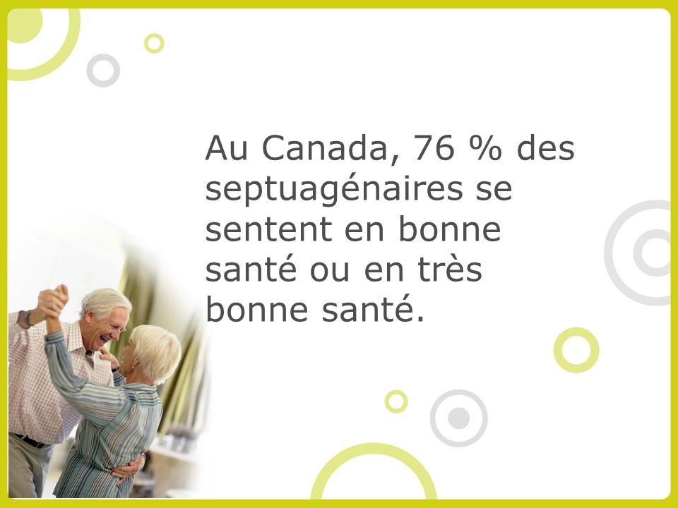 Au Canada, 76 % des septuagénaires se sentent en bonne santé ou en très bonne santé.