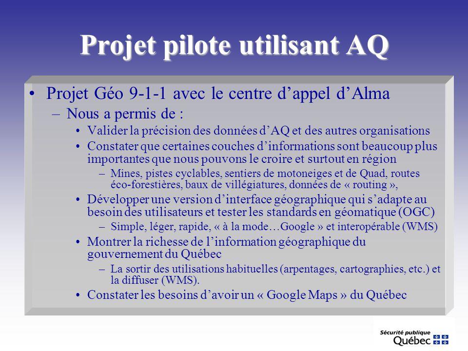Projet pilote utilisant AQ Projet Géo 9-1-1 avec le centre dappel dAlmaProjet Géo 9-1-1 avec le centre dappel dAlma –Nous a permis de : Valider la pré