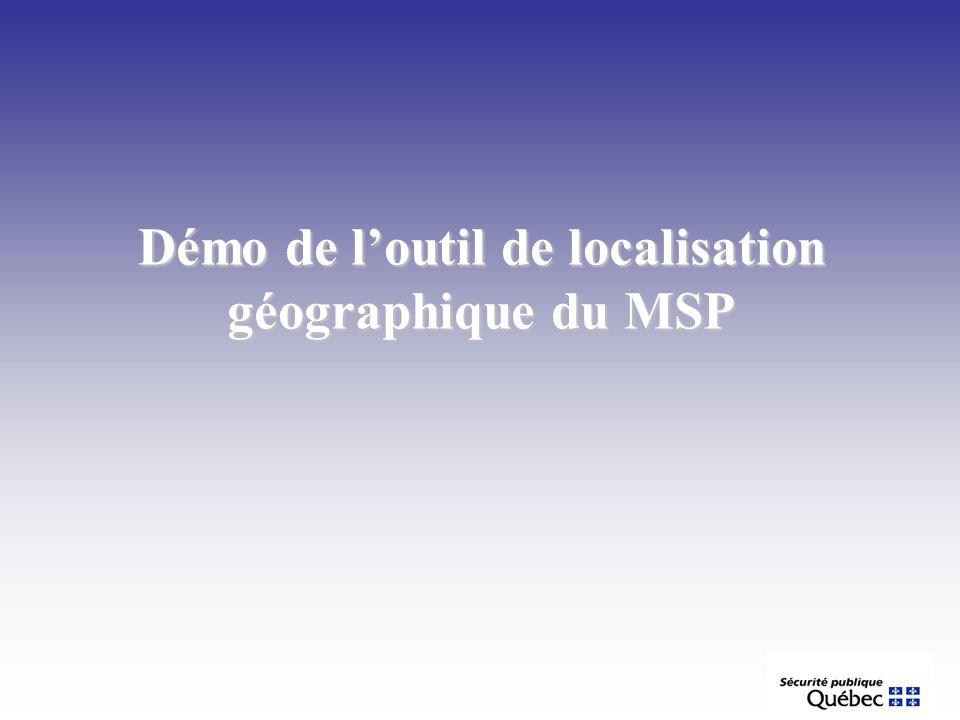Démo de loutil de localisation géographique du MSP